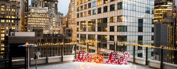 Affordable rooftop for wedding proposal with decorations