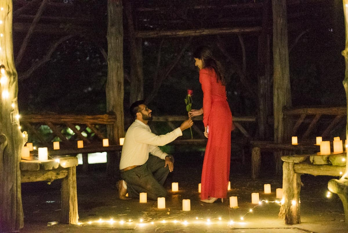 Marriage proposal in central park
