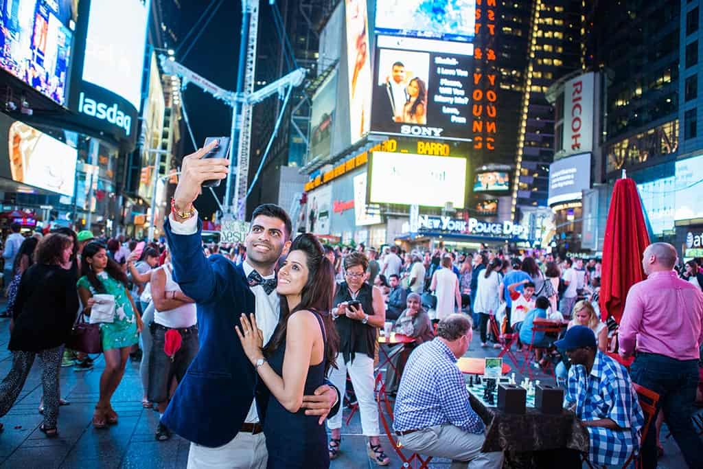 Marriage proposal on times square