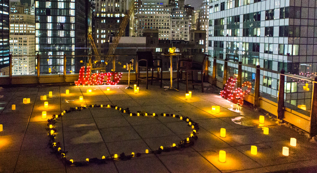 Rooftop proposal on valentines day best proposal idea for Best valentines restaurants nyc